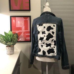 Cow Print Distressed Jean Jacket 🐮